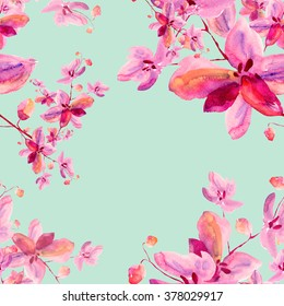 Floral watercolor background blooming orchids - 3