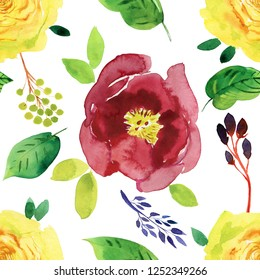 floral watercolor background. Seamless background.