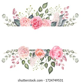 Floral watercolor design elements, wedding invitation design, floral frame, floral wreath, floral arrangement, pink roses drawing, summer garden flowers, watercolor drawing, watercolor illustration