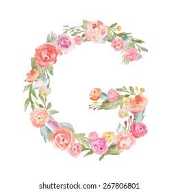 Floral Watercolor Flower Monogram Letter G