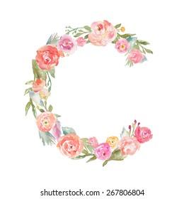 Floral Watercolor Flower Monogram Letter C