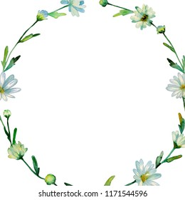 Floral Watercolor Frame Wreath Hand Drawn Stock Illustration