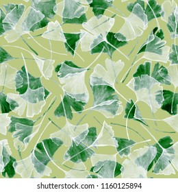 Floral watercolor ginkgo biloba leaves seamless pattern fabric print. Tree plant known as ginko or gingko. Green fabric pattern watercolor design, ginkgo leaves floral textile illustration.