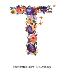 Floral Watercolor Letter T Made of Flowers, Isolated Summer Letter on White Background. Floral Wedding Font  Illustration