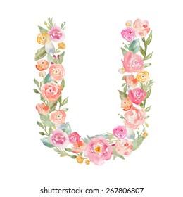Floral Watercolor Monogram Letter U.