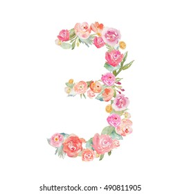 Floral Watercolor Monogram Number 3