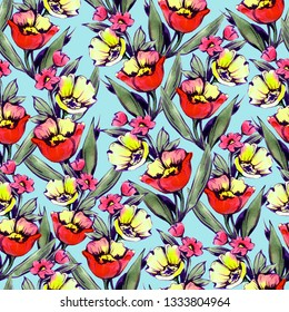 Floral watercolor seamless pattern. Design of fabric, packaging, wallpaper.