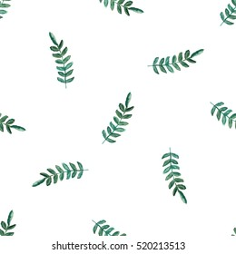 Floral watercolor seamless pattern, green leaf