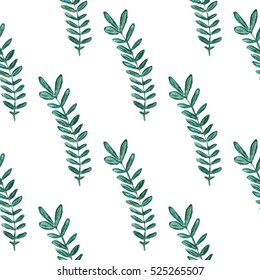 Floral watercolor seamless pattern, green branch