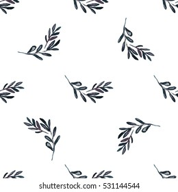 Floral watercolor seamless pattern, violet branch