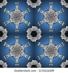 Floral wedding decorative elements. Seamless pattern mehndi floral lace of buta decoration items on blue, white and black colors.