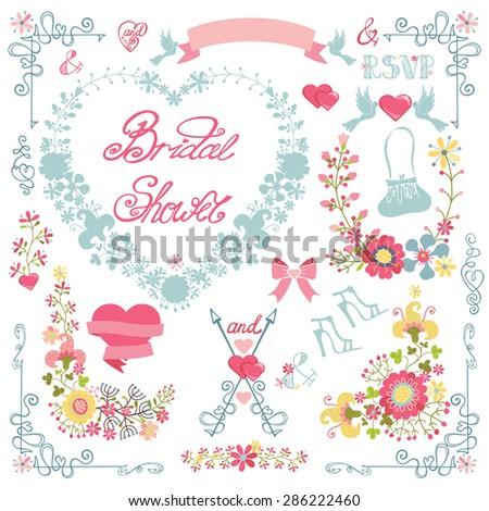 floral wedding decorbridal shower card with summer flowers heart wreathbouquetribbon