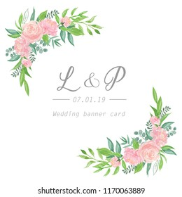 floral wedding invitation  design card, peony with leaves bouquets border frame watercolour illustration isolated on white background