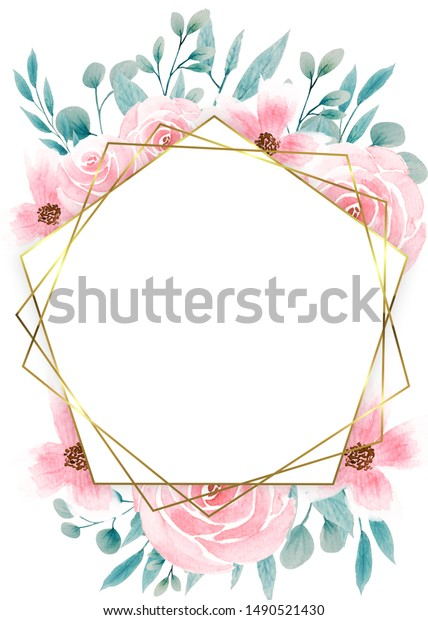 Floral Wedding Invitation elegant invite card vector Design: garden flower pink, peach Rose, white wax Anemone green Eucalyptus tender greenery, golden geometric print frame.