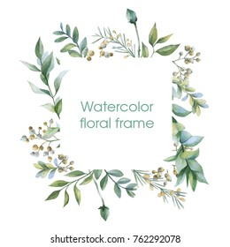 Floral wreath. Botanical illustrations. Watercolor frame.
