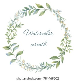 Floral wreath. Botanical illustrations. Watercolor frame.