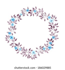 Floral wreath with cute flowers and leaves. Watercolor hand painted drawing