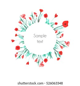 Floral wreath design with poppy flowers