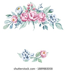 Floral wreath, frame with watercolor flowers. Greeting card design. Hand drawing illustration isolated on white background.
