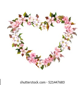 Floral wreath - heart shape. Apple, cherry, almond flowers. Watercolor for Valentine day, wedding