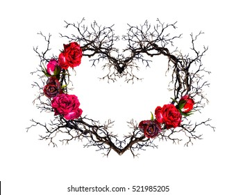 Floral wreath - heart shape. Twigs, rose flowers. Watercolor in gothic style