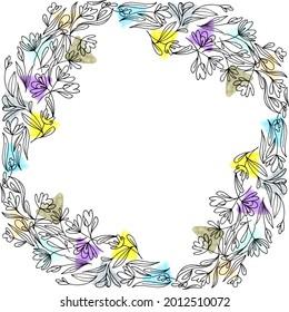 Courbe florale avec dessins de fleurs aux contours et éléments géométriques colorés. Cadre créatif dessiné à la main avec place carrée à l'intérieur