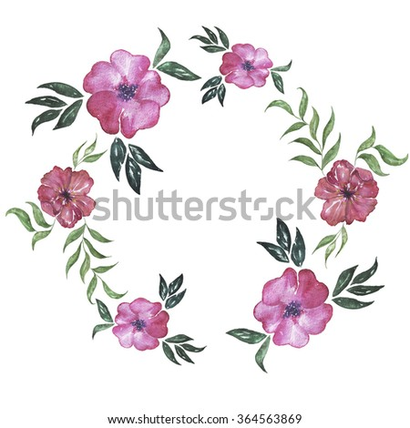 Floral wreath pink flower garland greeting stock illustration floral wreath pink flower garland greeting card hand drawn watercolor illustration mightylinksfo