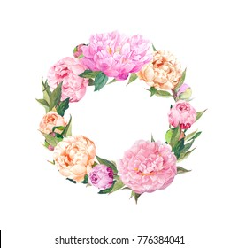 Floral wreath with pink peony flowers. Romantic round frame. Watercolor