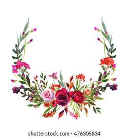 Floral wreath red purple pink roses watercolor flowers bouquet for fall autumn wedding or baby shower invitations isolated on white background.