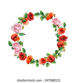 Floral wreath with summer flowers - rose and poppy. Water color circle frame