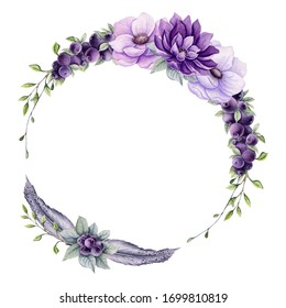 Floral Wreath with Watercolor Purple Flowers, Berries, Feathers and Light Green Leaves