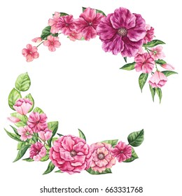 Floral Wreath with Watercolor Vivid Flowers and Place for Text