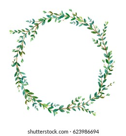 Floral wreath.Garland of a eucalyptus branches.Frame of a herbs.Watercolor hand drawn illustration.It can be used for greeting cards, posters, wedding cards