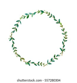 Floral wreath.Garland with eucalyptus branches.Watercolor hand drawn illustration.It can be used for greeting cards, posters, wedding cards