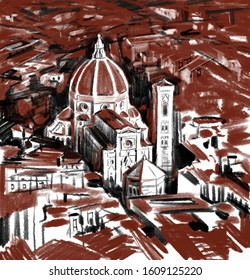 Florence city landscape. Santa Maria del Fiore in Italy. Italian Firenze culture in graphic sepia and charcoal sketch. Florence Cathedral tourism landmark