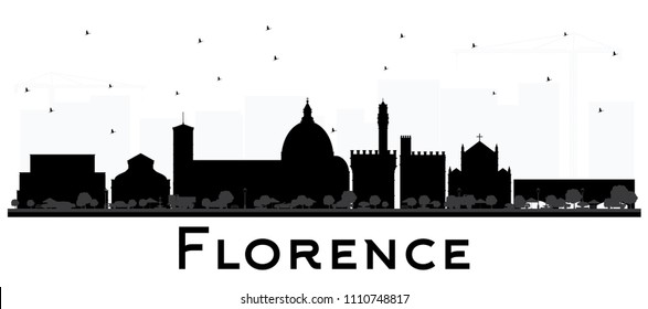 Florence Italy City Skyline Silhouette with Black Buildings Isolated on White. Business Travel and Tourism Concept with Modern Architecture. Florence Cityscape with Landmarks.