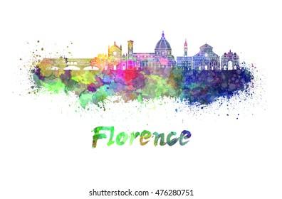 Florence skyline in watercolor splatters