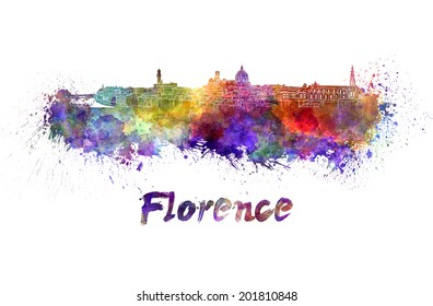 Florence skyline in watercolor splatters with clipping path