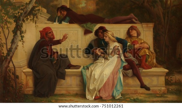 FLORENTINE POET, by Alexandre Cabanel, 1861, French painting, oil on wood. The artist made at least 4 replicas of this popular historical scene. The speaker on left, who bears resemblance to portraits
