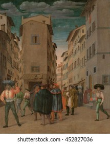 Florentine Street Scene with Twelve Figures (Sheltering the Traveler, One of the Seven Works of Mercy), by Anonymous, 1540-60, Italian painting, oil on panel. Well dressed travelers standing at an in