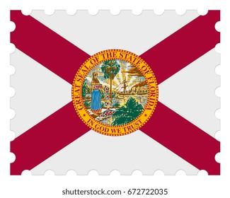 Florida Flag Postage Stamp, 3d illustration on white background
