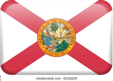 Florida flag rectangular button.  Part of set of US State flags all in 2:3 proportion with accurate design and colors.