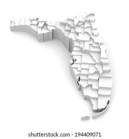 Florida map by counties in various high levels. Abstraction of parts of a whole. This icon serves as idea of raised platforms to show data information related to every county