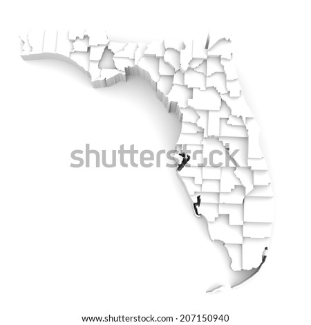Florida Map By County.Florida Map By Counties Various High Stock Illustration 207150940