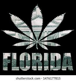 Florida, Marijuana and Cannabis, Money and Text on Black Background.
