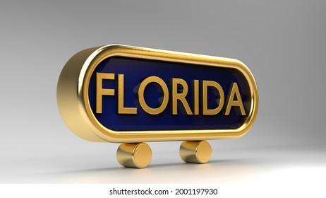 Florida sign on gold, 3d render.