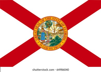 Florida state flag of America, isolated on white background.
