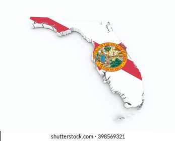 florida state flag on 3d map