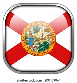 Florida State Flag square glossy button