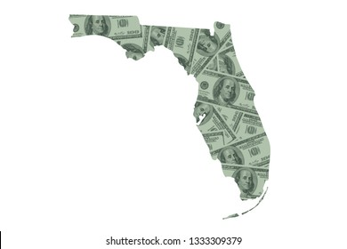 Florida State Map and Money, Hundred Dollar Bills